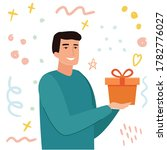 man takes gift. cartoon flat... | Shutterstock .eps vector #1782776027