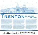 Outline Trenton New Jersey City Skyline with Blue Buildings and Copy Space. Vector Illustration. Trenton is the Capital of the US State of New Jersey. Cityscape with Landmarks.