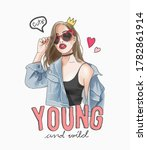 young and wild slogan with... | Shutterstock .eps vector #1782861914