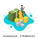 business man sit down on money... | Shutterstock .eps vector #1782864161