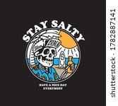 skull on beach hand drawn... | Shutterstock .eps vector #1782887141