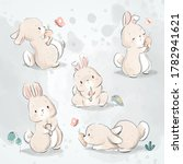 Cute Bunny And Carrot Doodle Set