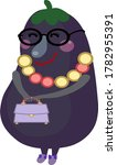 mrs. eggplant with a bag in her ...   Shutterstock .eps vector #1782955391