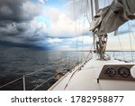 White Yacht Sailing In An Open...