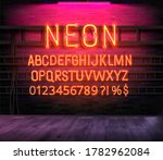 neon alphabet  letters on a...   Shutterstock .eps vector #1782962084