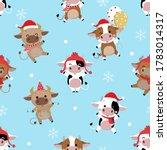 cute cow in winter costume... | Shutterstock .eps vector #1783014317