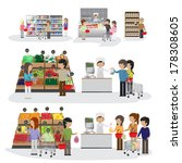 People In Supermarket - Isolated On White Background - Vector Illustration, Graphic Design Editable For Your Design