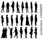 black silhouettes of beautiful...   Shutterstock . vector #178308959