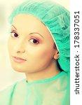 female surgeon or nurse wearing ...   Shutterstock . vector #178337051