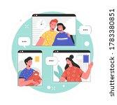 friends meeting online. vector... | Shutterstock .eps vector #1783380851