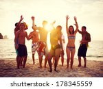 group of people partying on... | Shutterstock . vector #178345559