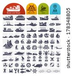 Ships And Boats Icons Bulk...