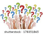 diversity of hands raised and... | Shutterstock . vector #178351865