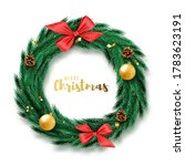 christmas wreath with ribbons ... | Shutterstock .eps vector #1783623191