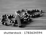 The Rosary. Close Up Of Wooden...