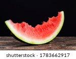 Bitten Piece Of Red Watermelon...