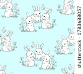 seamless pattern rabbit....   Shutterstock .eps vector #1783688057