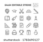 school supplies icons. back to... | Shutterstock .eps vector #1783690127