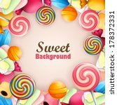 Abstract background with sweets  - stock vector
