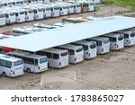 Many Buses In The Open Parking...