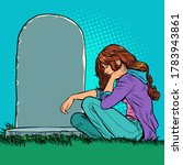 a sad widow or daughter near a... | Shutterstock .eps vector #1783943861
