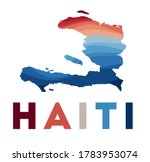 Haiti map. Map of the country with beautiful geometric waves in red blue colors. Vivid Haiti shape. Vector illustration.