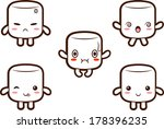Cute marshmallow character with different expressions- happy, angry, confused, fluster,cute. EPS10