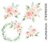 set watercolor flowers hand... | Shutterstock . vector #1783983434