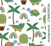 seamless pattern with crocodile ... | Shutterstock .eps vector #1784039534