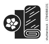 linen fabric black line icon....