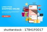 online shopping landing page... | Shutterstock .eps vector #1784193017