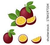 set of fresh whole  half  cut... | Shutterstock . vector #1784197334