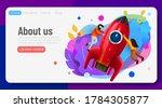 people flying around big rocket.... | Shutterstock .eps vector #1784305877