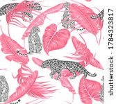 tropical pink palm leaves ...   Shutterstock .eps vector #1784323817