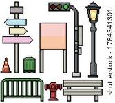 Pixel Art Set Isolated Street...