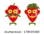 healthy eating. funny men's... | Shutterstock . vector #178435385