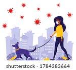 Black Woman Walking With Dog...