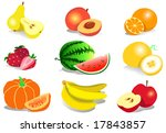 fruit icons. healthy food. | Shutterstock . vector #17843857