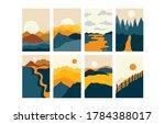 vector abstract landscape set   ... | Shutterstock .eps vector #1784388017