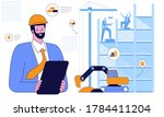 working at construction site... | Shutterstock .eps vector #1784411204