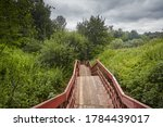 Red Wooden Staircase In The...