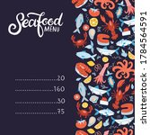 seafood menu. set of colorful... | Shutterstock .eps vector #1784564591