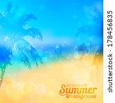 blurred summer beach vector... | Shutterstock .eps vector #178456835