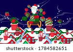 snowy house roofs and presents... | Shutterstock .eps vector #1784582651