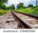 Railroad Train Tracks In The...