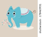 blue happy elephant | Shutterstock .eps vector #178465931
