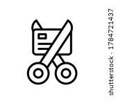 scissors card icon. simple line ...