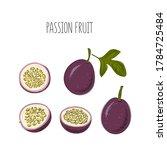 vector set of passion fruit ... | Shutterstock .eps vector #1784725484