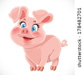 Cute Cartoon Happy Baby Pig...