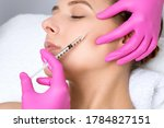 Small photo of Beautiful woman at the beautician. Cosmetologist does anti wrinkle injections on the face, in the eye area and on cheekbone. Women's cosmetology in the beauty salon.